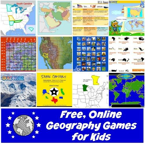 List of online geography games and quizzes for kids in elementary school, middle school, and high school (and adults!). Practice locations, capitals, landmarks, landforms, and more.