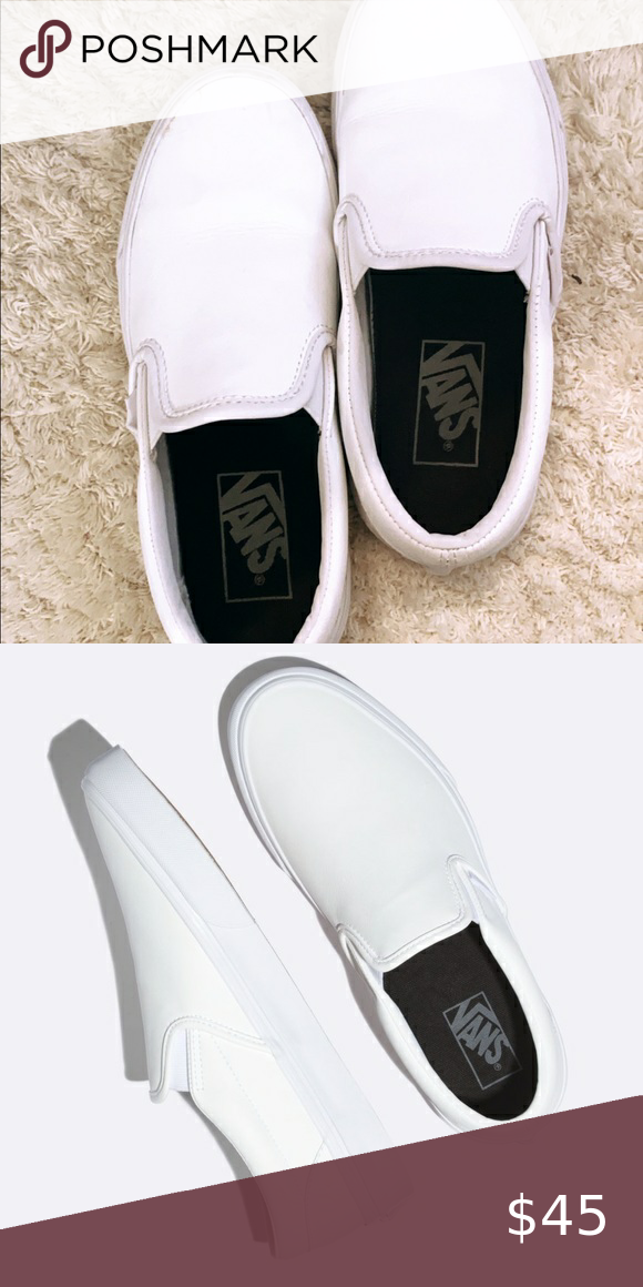 Leather White Vans They Re Leather Material Vans Shoes Flats Loafers Vans Classic Slip On Sneaker White Vans Vans