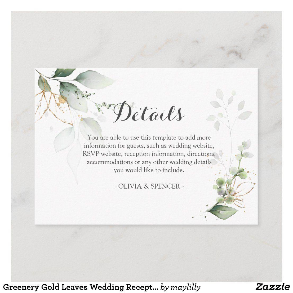 Greenery Gold Leaves Wedding Reception Details Enclosure