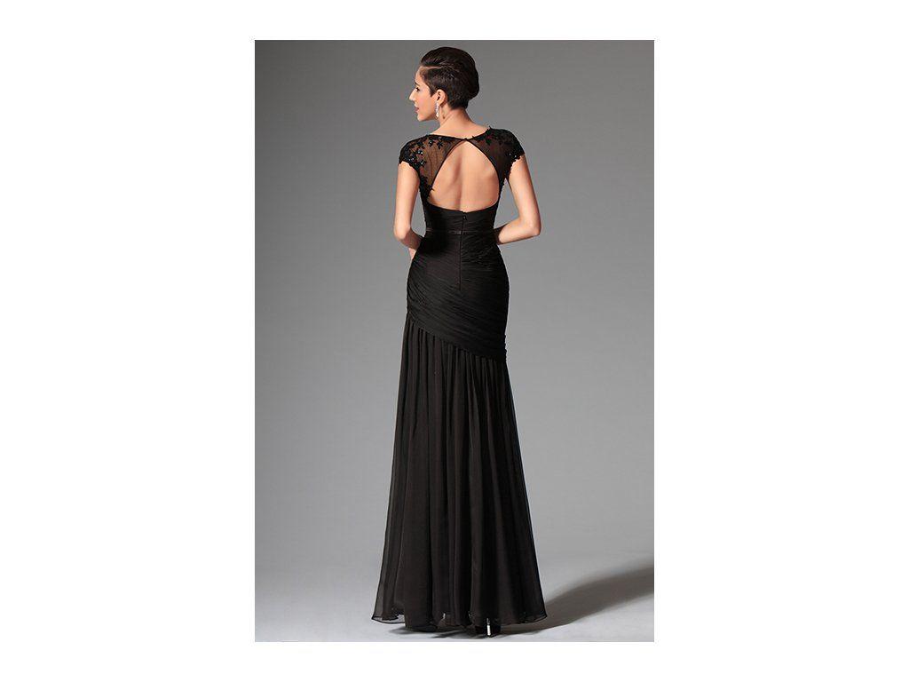 Odvážné společenské šaty s flitry Sexy šaty s výrazným rozparkem romantické  černá krajka s květinami velký výstřih výstřih je kulatý c59f8c73aa