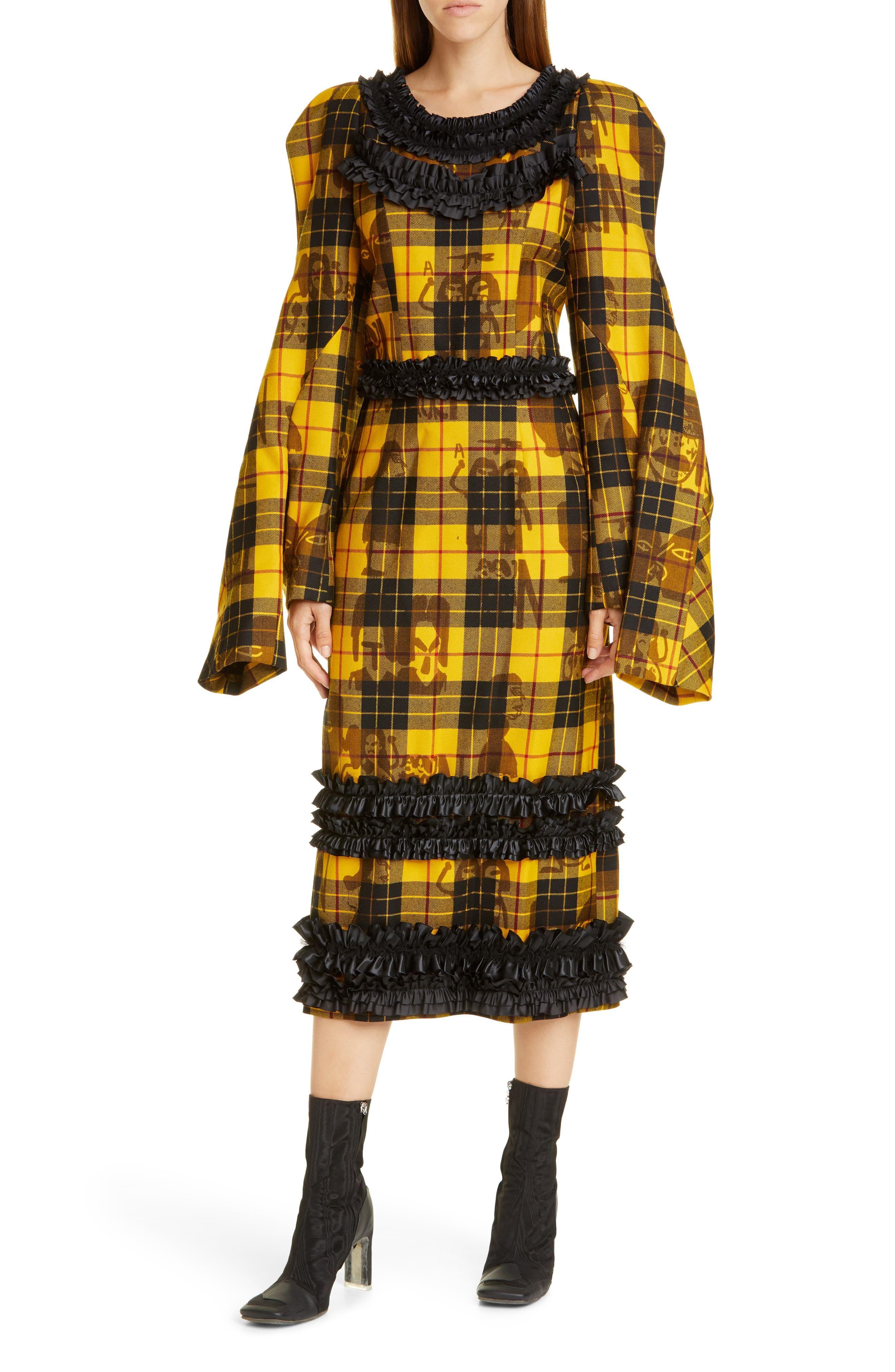 Comme Des Garcons Comme Des Carcons Long Sleeve Tartan Wool Midi Dress Tartan Dress Midi Dress Style Dresses [ 4048 x 2640 Pixel ]