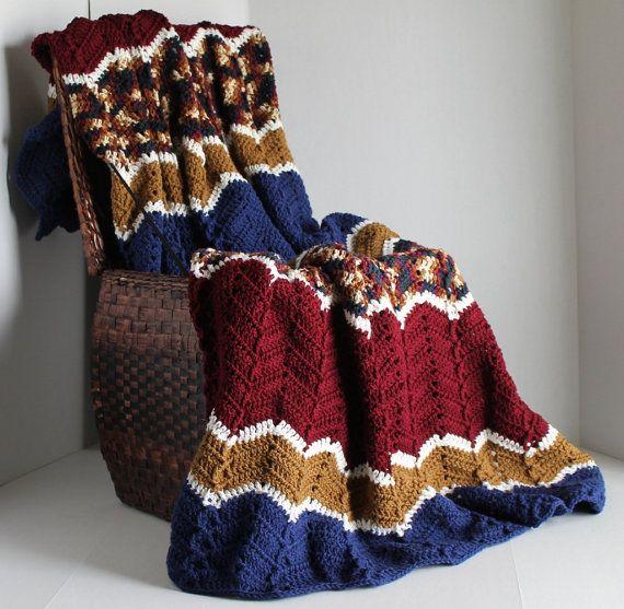 Afghan - Handmade Ripple Crochet Blanket - Burgundy, Blue, and Brown