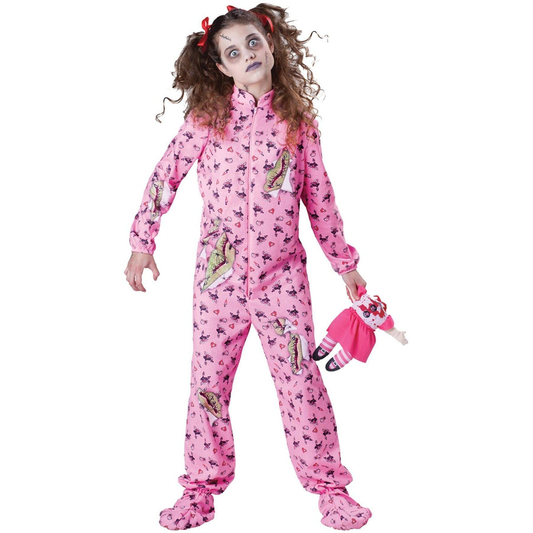 jumpsuit with zombie print and headless doll. hair ribbons and