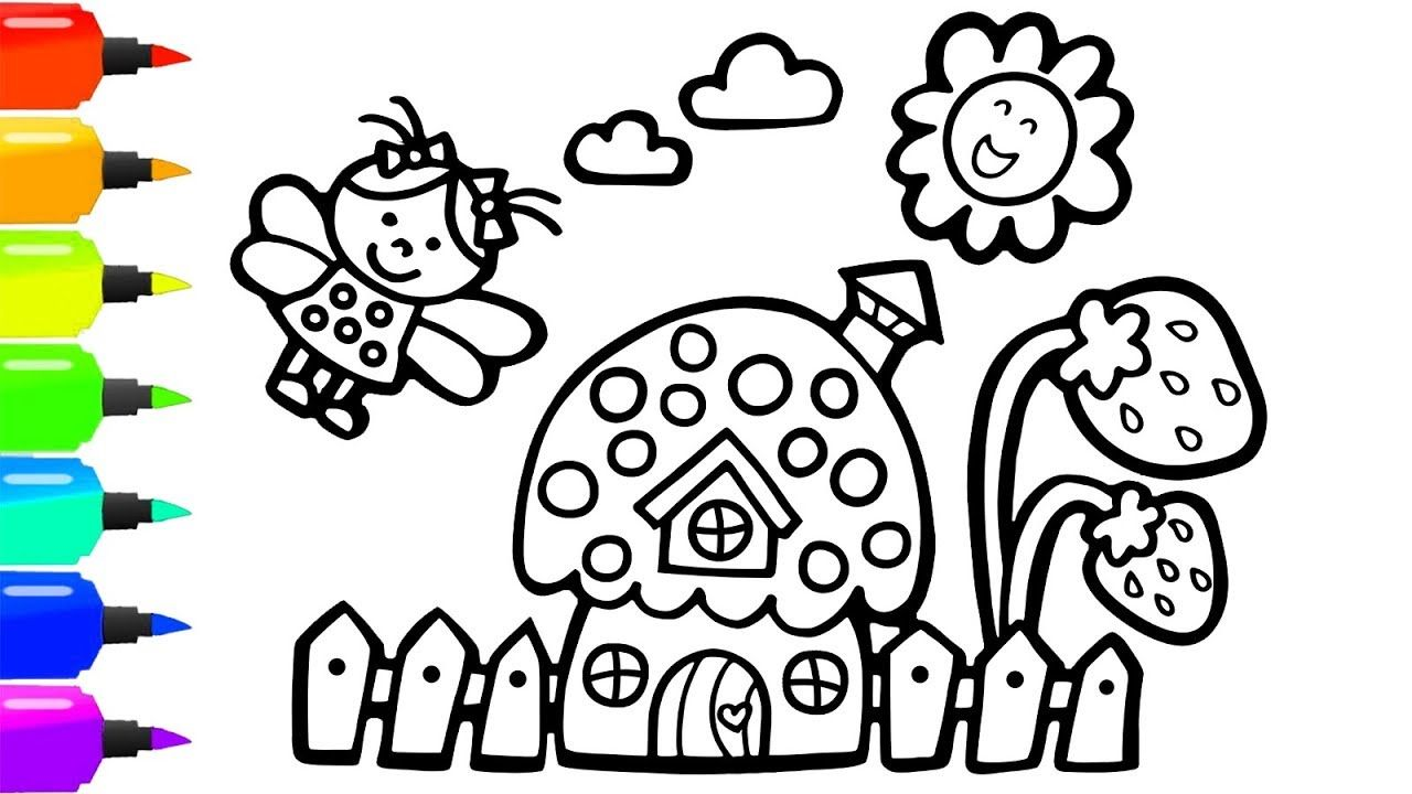 How To Draw A House So Cute For Kids House Coloring Book