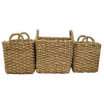 Natural Tall Rush Basket Set French Farmhouse Style