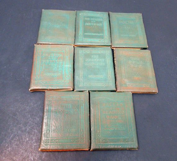 Vintage Little Leather Library Tiny Antique Books Green