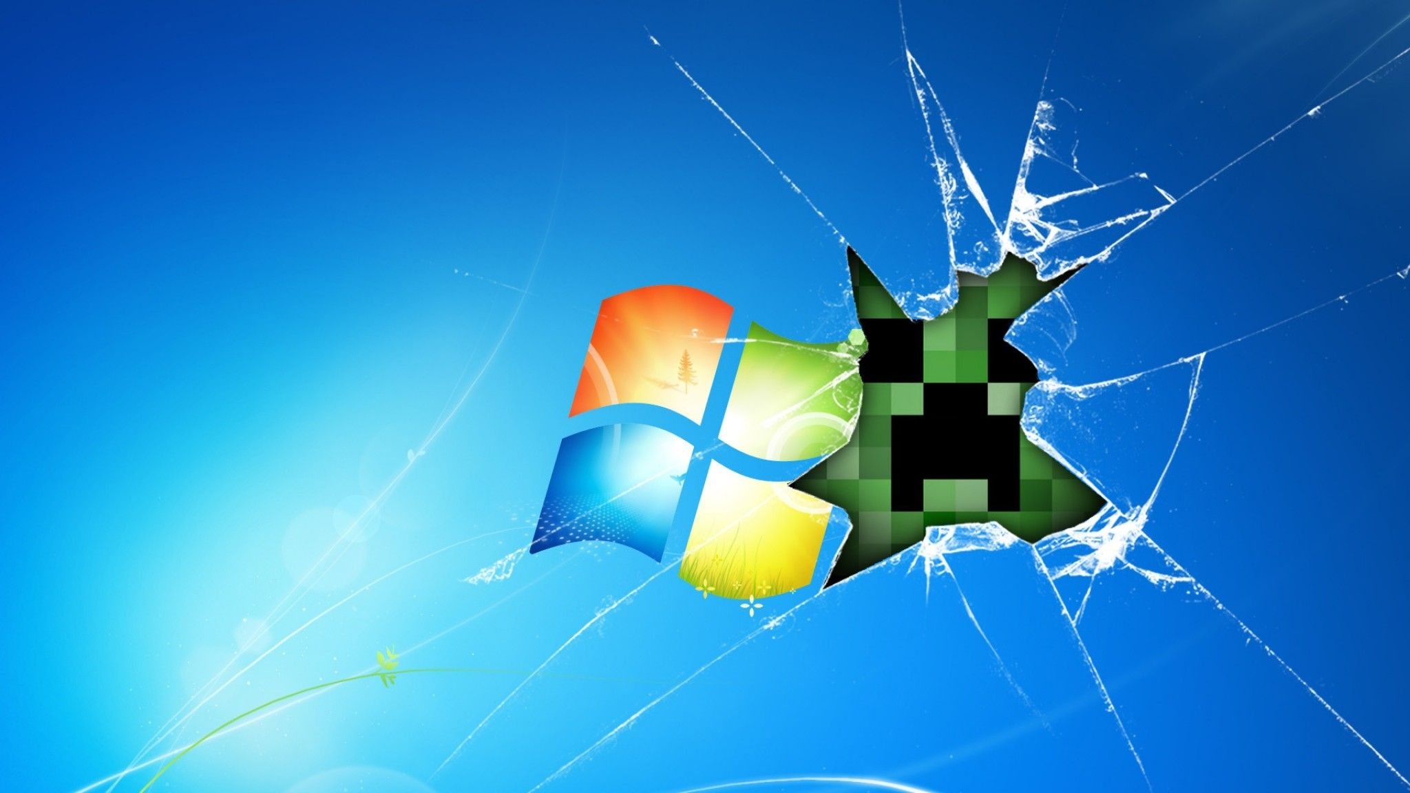 2048x1152 Preview Wallpaper Windows Minecraft Game Glass