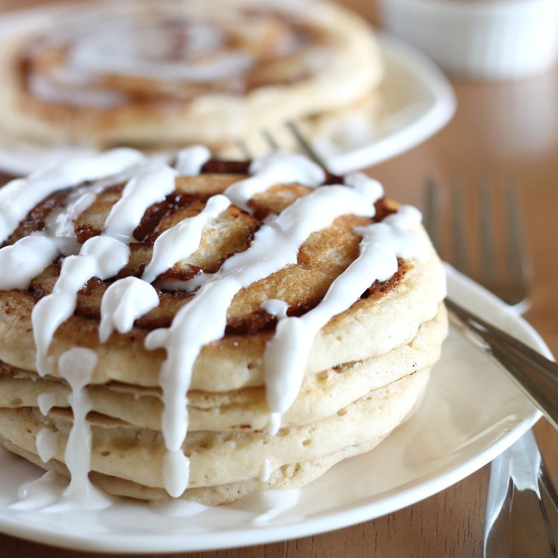 Cinnamon Roll Pancakes (Vegan) - contain soy and wheat