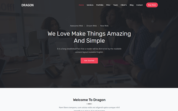 Dragon Responsive One Page Template By Themesboss Page Template First Page Templates
