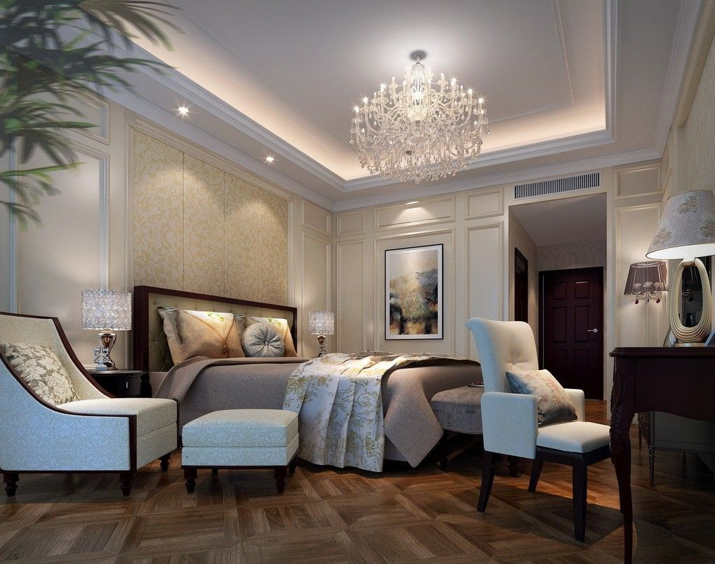 Neoclassical interior statues Bedroom Elegant Bedroom