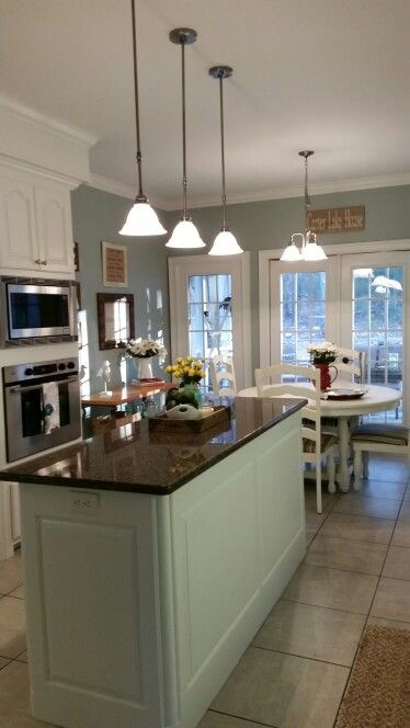 Kitchen Makeover. Sherwin Williams Alabaster Kitchen Cabinets And Sherwin  Williams Silver Mist On Walls.