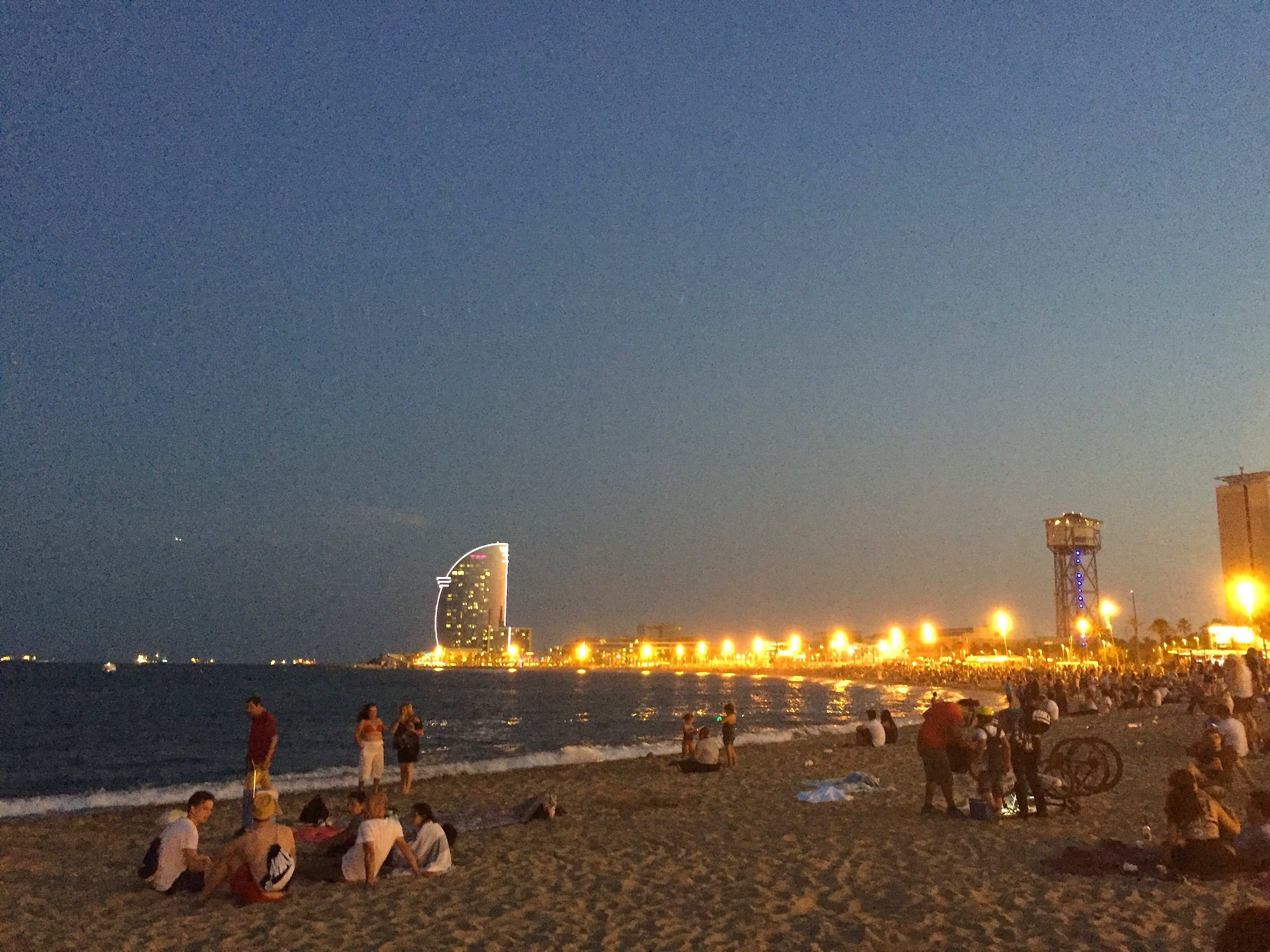 Check Out The Night Lights Along La Barcelonata Beach In Barcelona W Hotel Distance Looks So Cool Lit Up At Time It Is Located Right On
