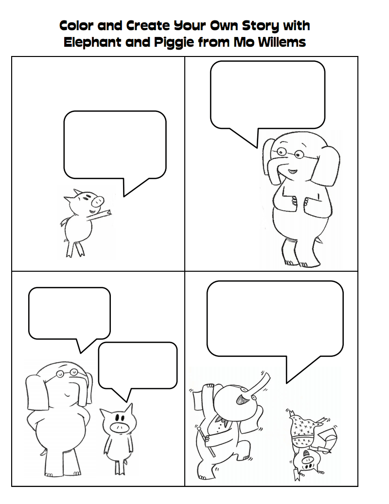 Elephant and google drive author study for Piggie and gerald coloring pages
