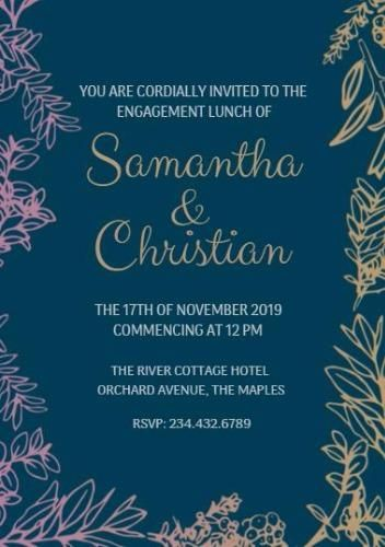 Engagement lunch invitation template on dark blue background with
