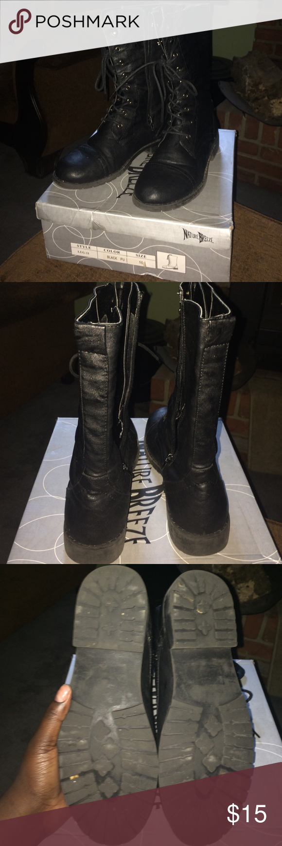 Black Combat Boots Black Combat boots with zipper on the side of the boots. The boots do have strings to adjust the weight upon the leg or foot. Shoes Combat & Moto Boots