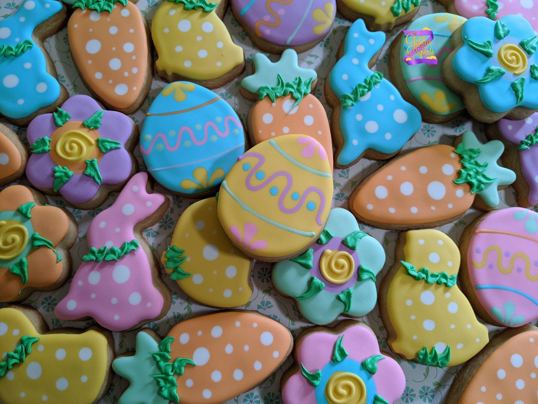 24 Easter Happy Sugar Cookies Easter Basket Favors Easter ...