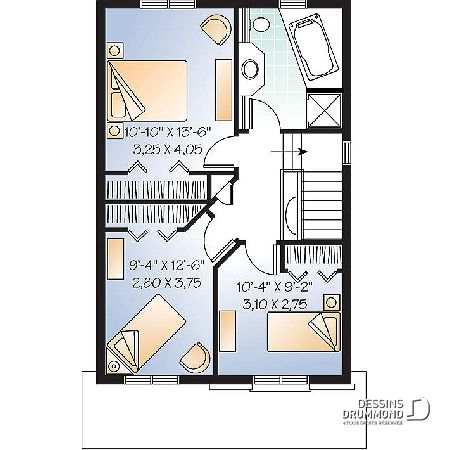 Étage du plan de maison unifamiliale W2773 Planos de casas Pinterest - plan maison etage m
