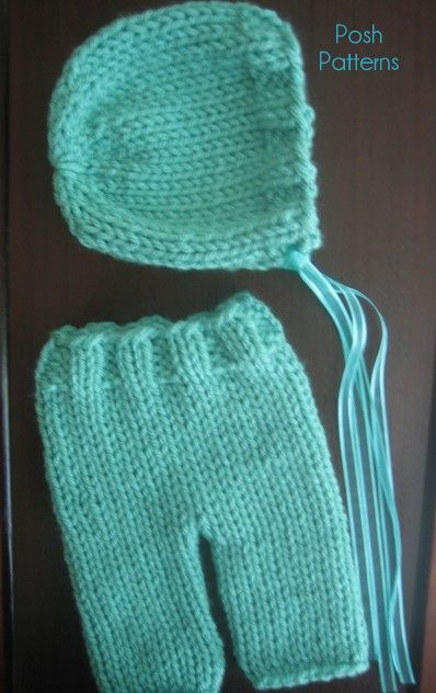 Knitting PATTERN - Knit Baby Bonnet & Pants Pattern   Pinterest ...