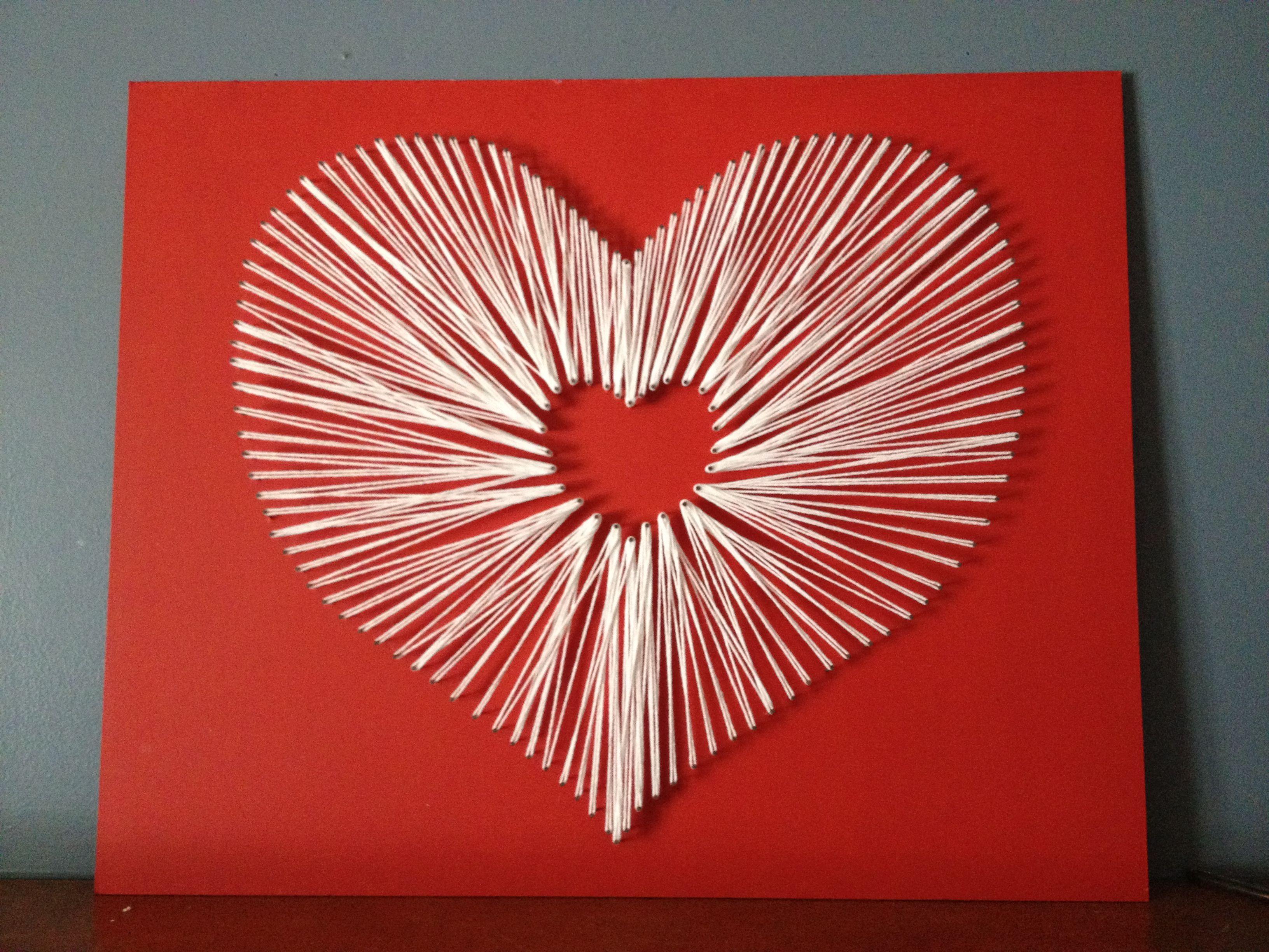 Днем, открытка сердечко из ниток