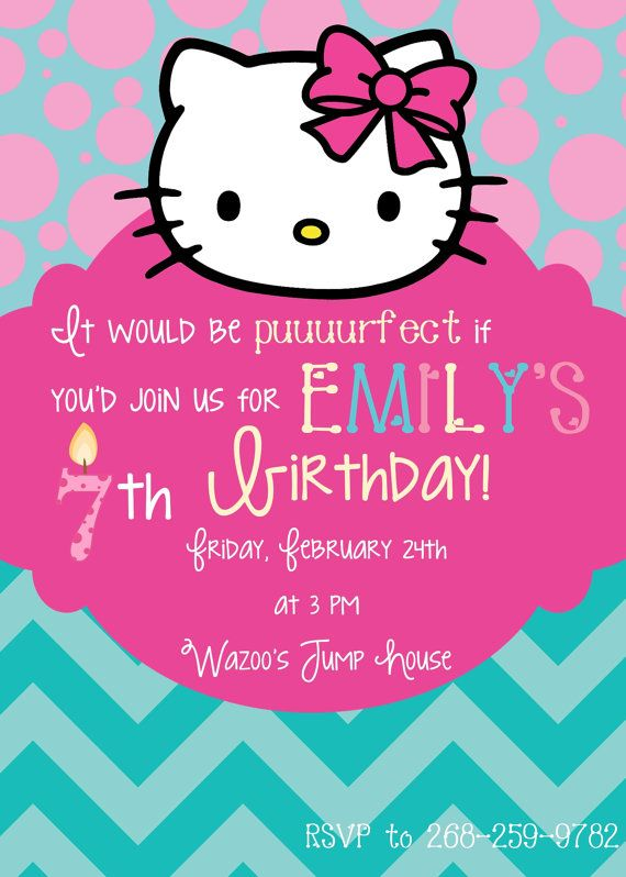 Hello kitty birthday invitation parties and showers pinterest hello kitty birthday invitation stopboris Image collections