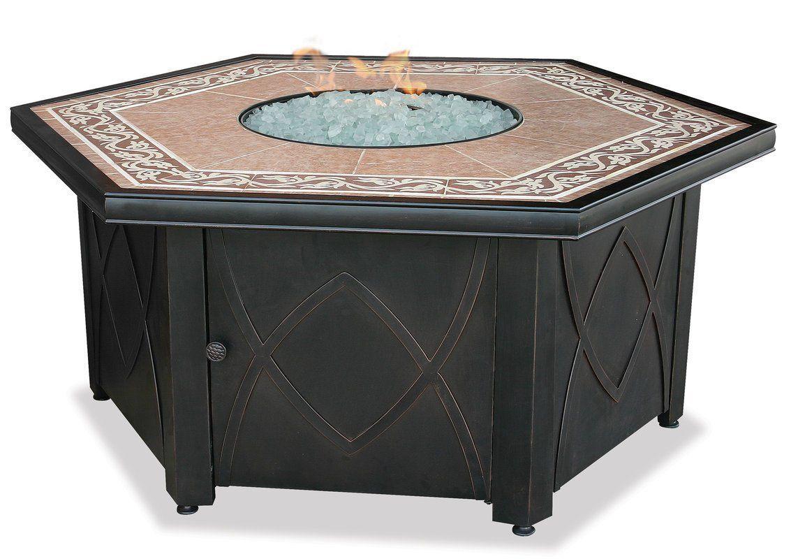 Uniflame gadsp lp gas hexagonal outdoor firebowl with decorative