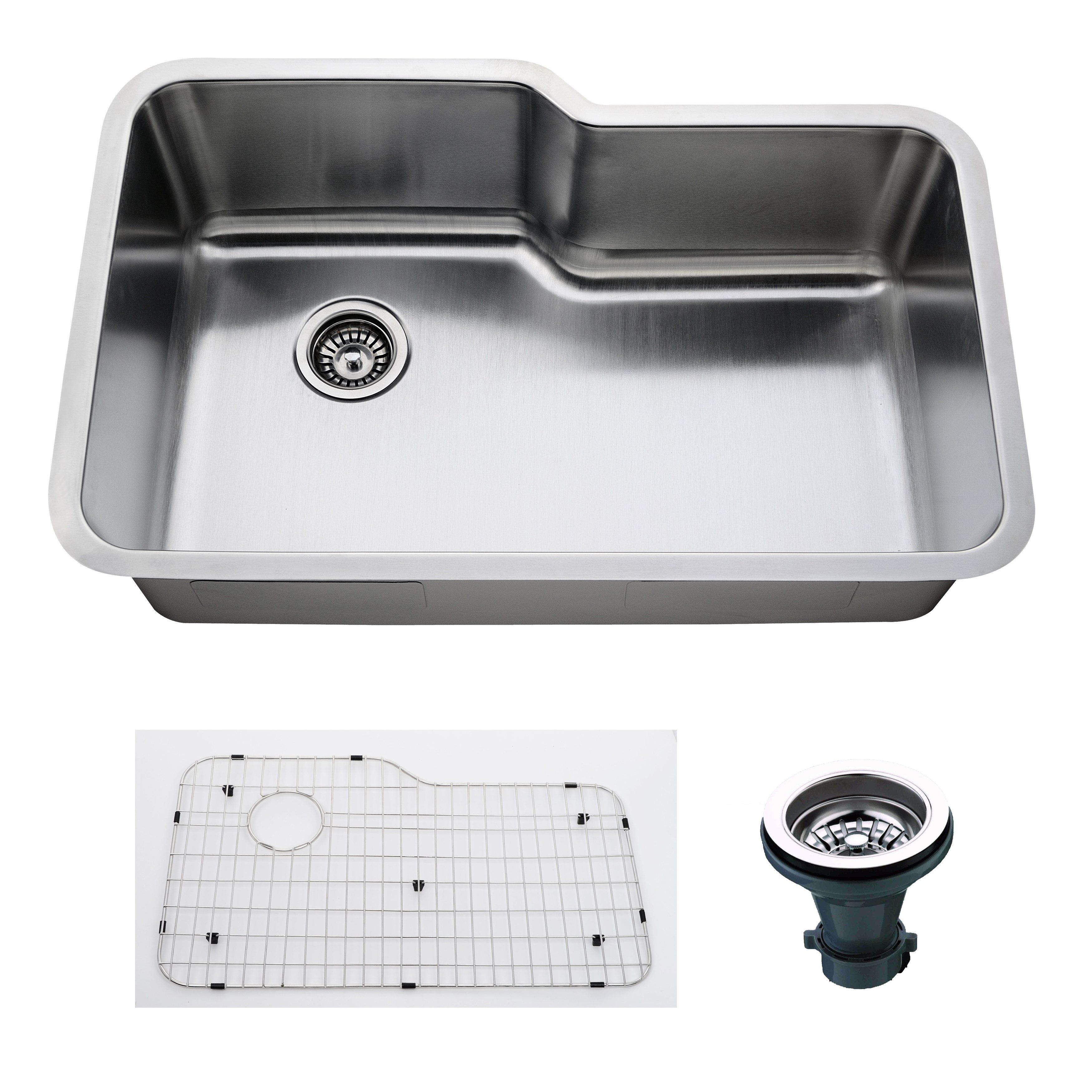 Empire 32 Inch Undermount Single Bowl 16 Gauge Stainless Steel Kitchen Sink With Soundproofing Stainless Steel Kitchen Sink Stainless Steel Kitchen Sink