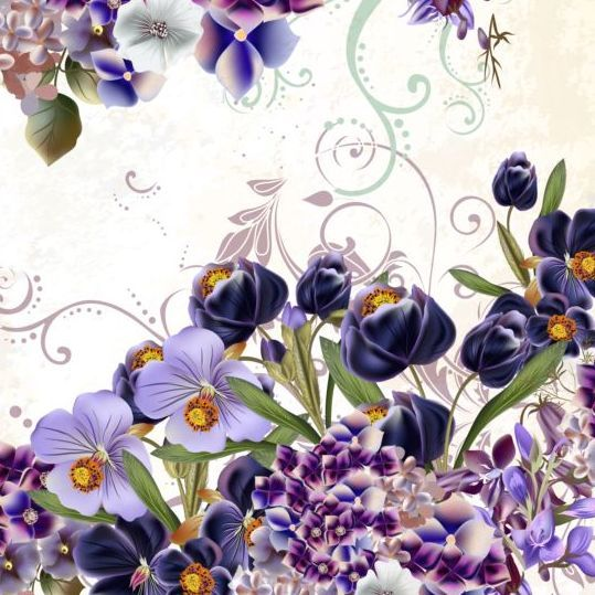 Floral Background With Purple Flowers Vector Floral Fundo Floral