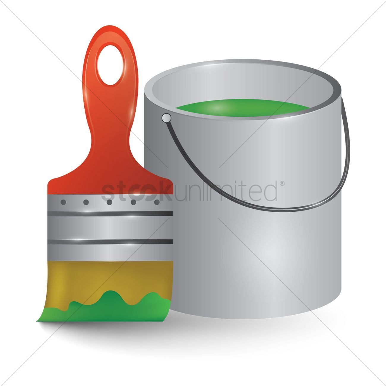 Paint bucket and brush vectors, stock clipart ,