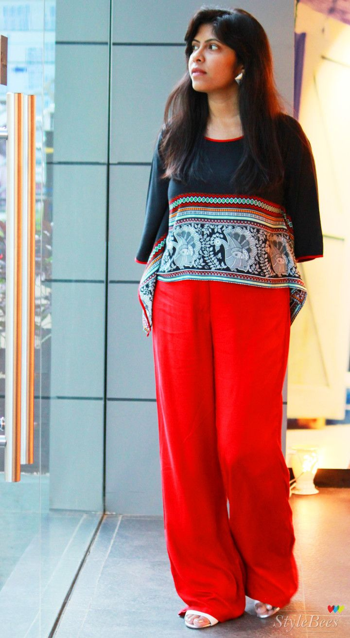 Outfit - Red palazzo and black kaftan top from Global Desi #fashion ...