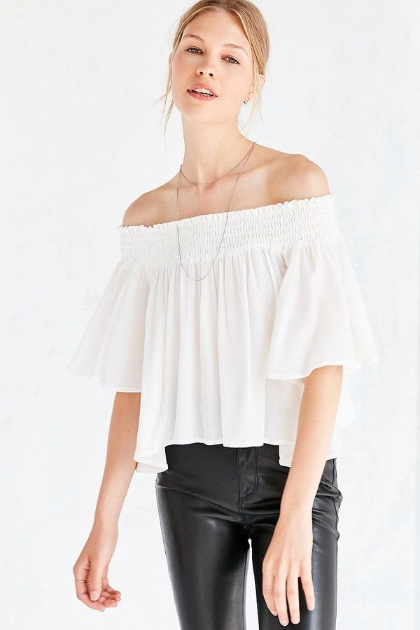 cfe66f62cbdaf Kimchi Blue Smocked Off-The-Shoulder Top. Click the link to shop!   urbanoutfitters  wildfoxcouture  anthropologie  autumn  fashion  topshop   H M  zara