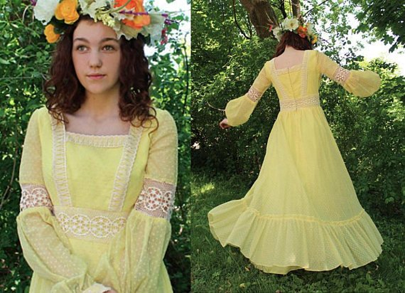 572fc9c9734 70s Vintage Maxi Dress YELLOW SWISS Dotted Bridesmaid Gown LACE Long Sleeve  Romantic Ruffle Spring G