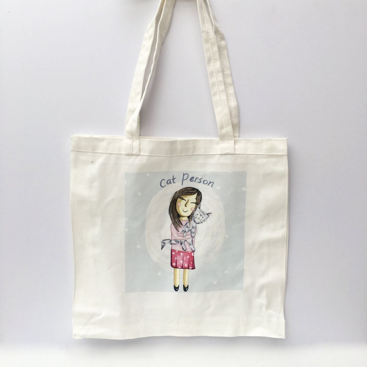 23deb81ea6 Cat Person White Canvas Tote Bag, Illustrated Cute, Girly Bag for ...