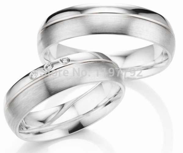 custom made silver color titanium engagement wedding rings sets
