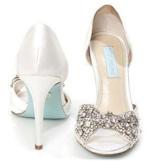 Ivory Satin Rhinestone Bow P Toe Heels Blue Wedding Shoesp