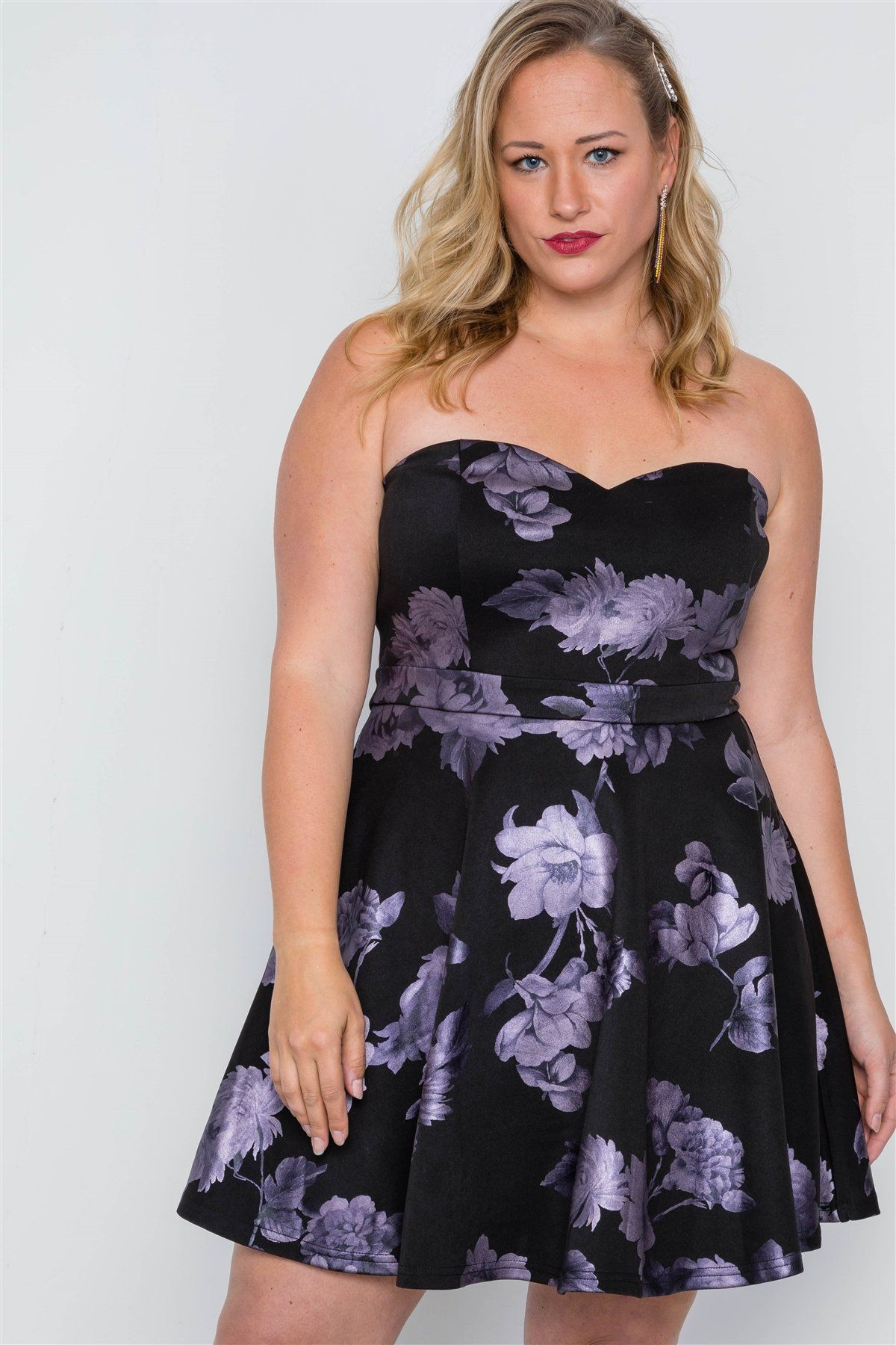 Plus Size Black Fit & Flare Floral Mini Dress in 2019 ...