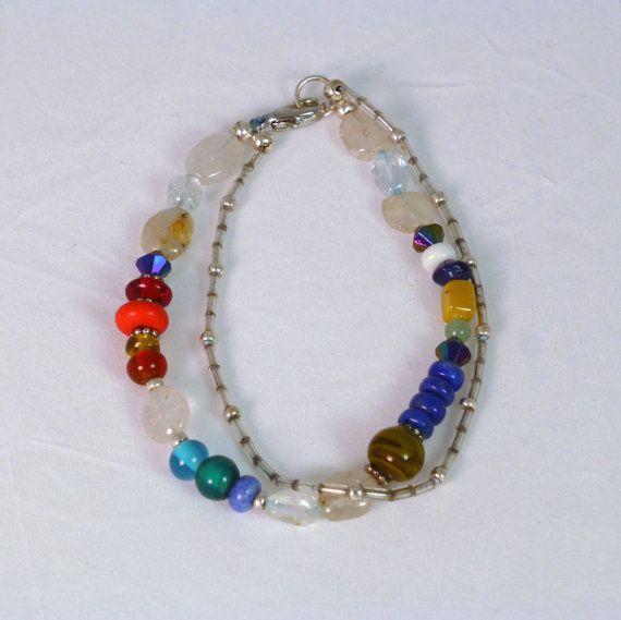 Sparkling Rainbow Double Strand Beaded Bracelet by CarolynSpringer