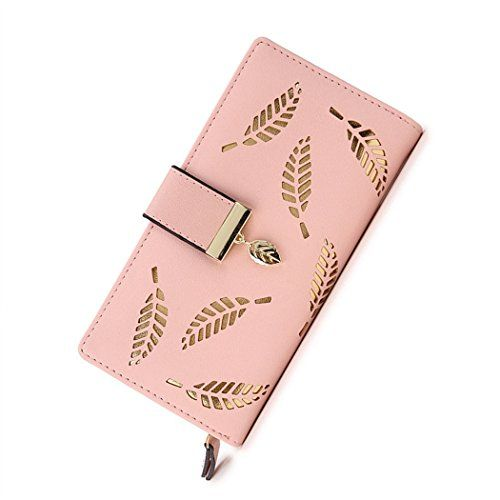 5822a2666cfe0 Franchen Damen Brieftasche Mode Kupplung Clutch Hohl Baumblatt  Reißverschluss Portemonnaie Karten Geldbeutel (Pink).