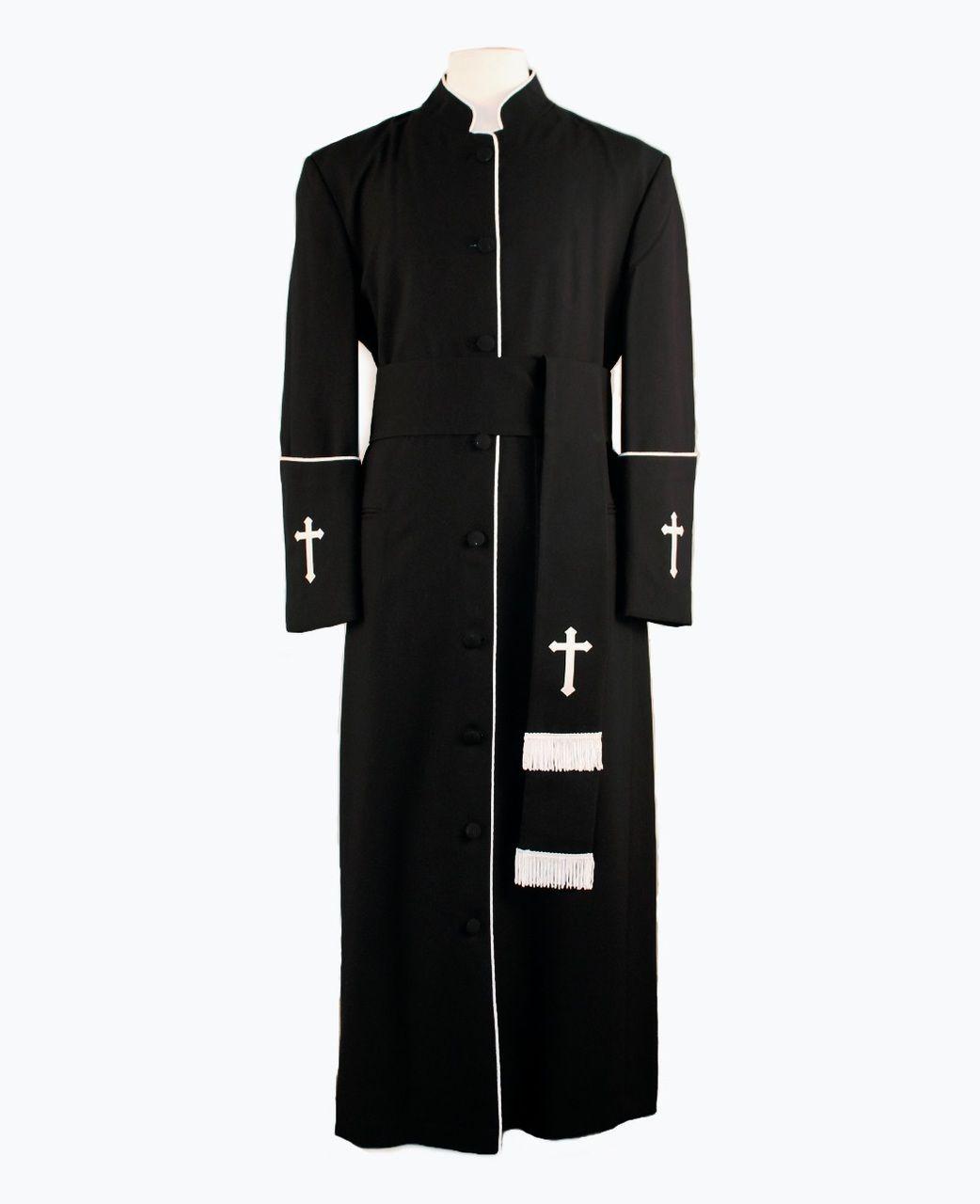 005. Men\'s Preacher Clergy Robe & Cincture Set in Black & White ...