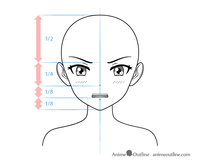 Anime Tsundere Female Character Embarrassed Face Drawing Anime Eye Drawing Anime Character Drawing Anime Head Shapes