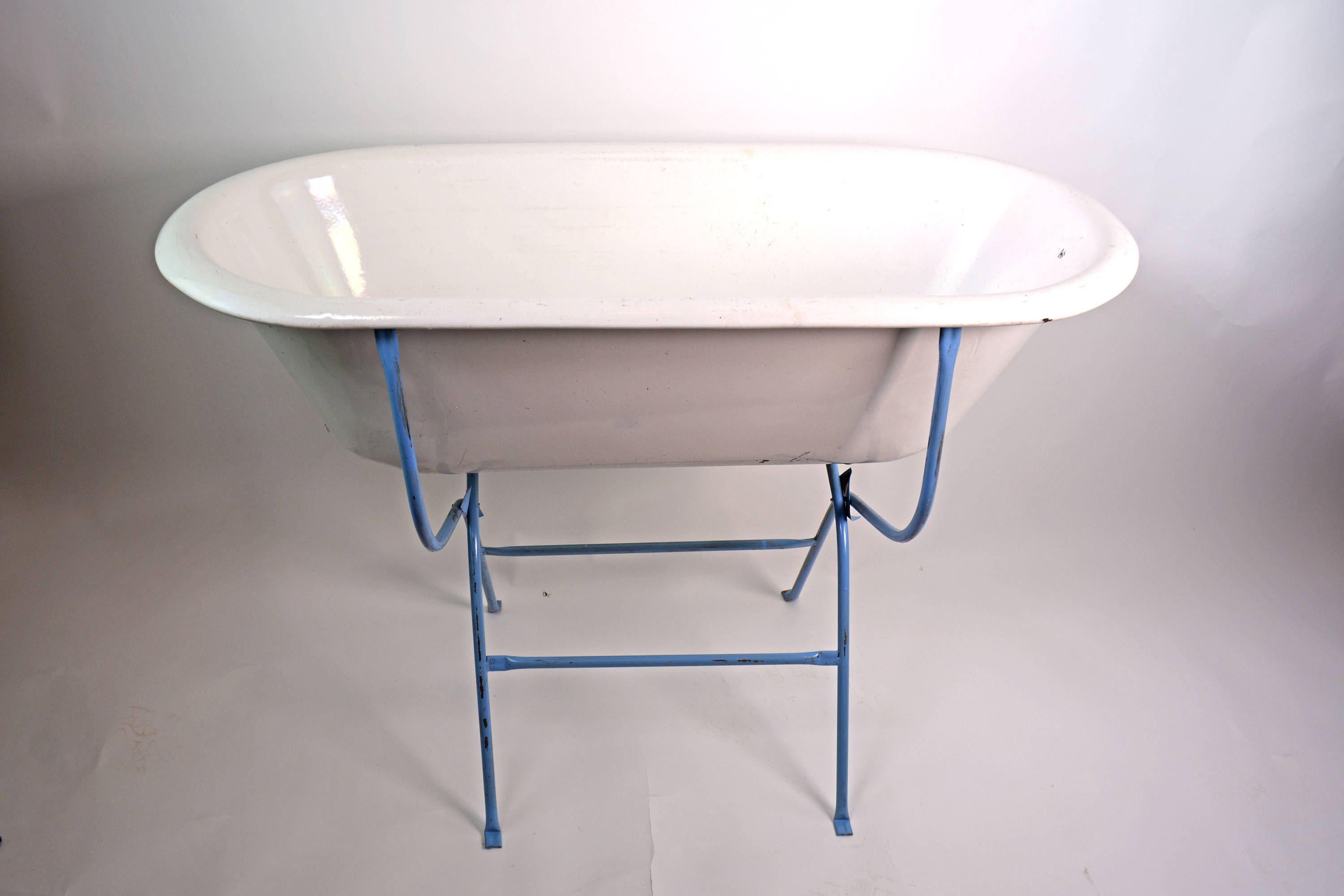 Enamel Baby Bath Tub, Vintage Tub, Antique European Bath on Stand ...