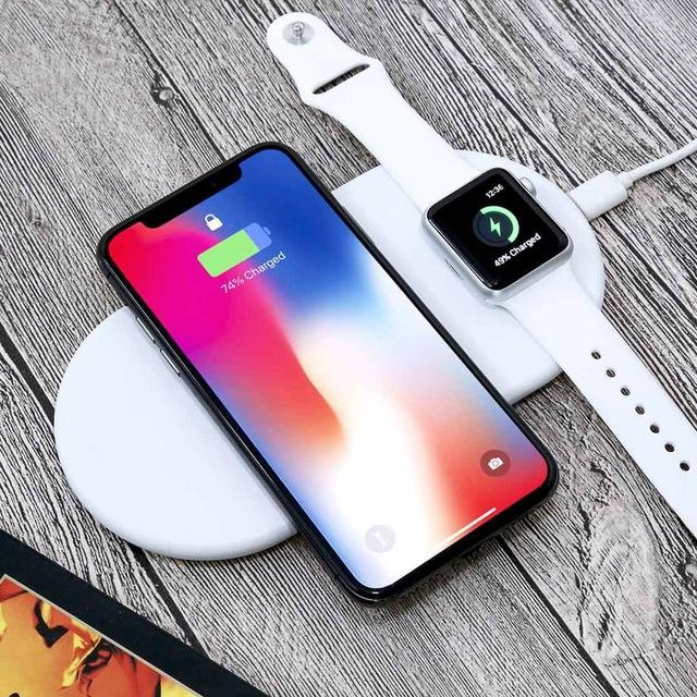 Nouveau Chargeur Sans Fils Qi Standard De Charge Rapide 2en 1 Telephone Mobile Pour Iphone 8 X Apple Montre Samsung S9 Iphone Telephone Mobile Chargeur Mobile