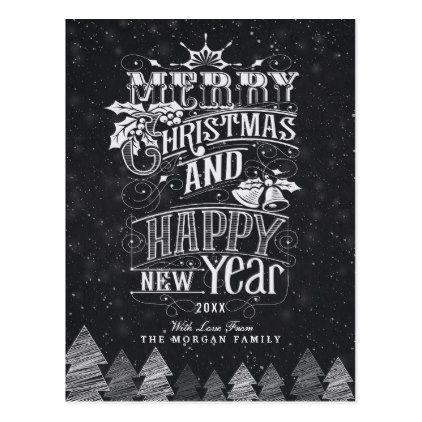 Black White Holly Merry Christmas Happy New Year Holiday Postcard Zazzle Com Happy New Year Greetings New Year Greeting Cards Chalkboard Merry Christmas