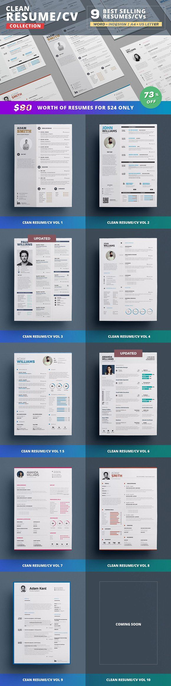 Resume/Cv Bundle - Clean Collection by TheResumeCreator on ...