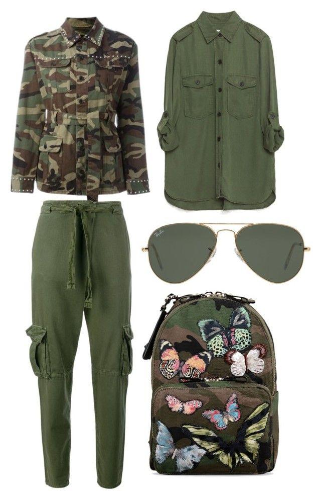 """Military Women Set"" by deborahanamariarachelina ❤ liked on Polyvore featuring moda, Yves Saint Laurent, Zara, Current/Elliott, Valentino, Ray-Ban, womenfashion i militaryset"