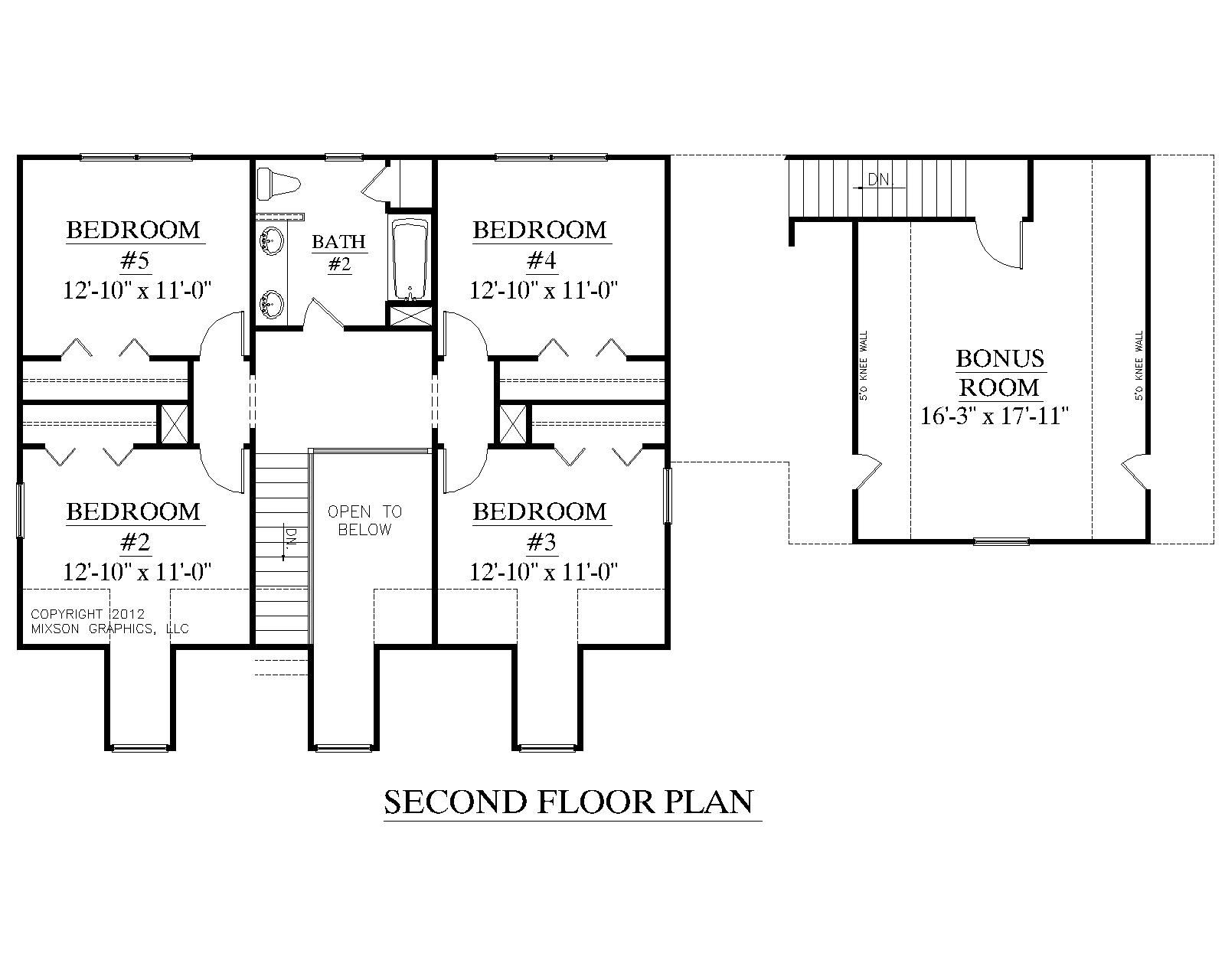 House Plan 2341 A Montgomery A Second Floor Plan Traditional 1 1 2 Story House Plan With 5