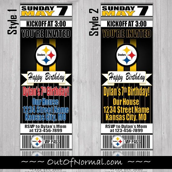 Pittsburgh Steelers Birthday Ticket Style Invite Custom With