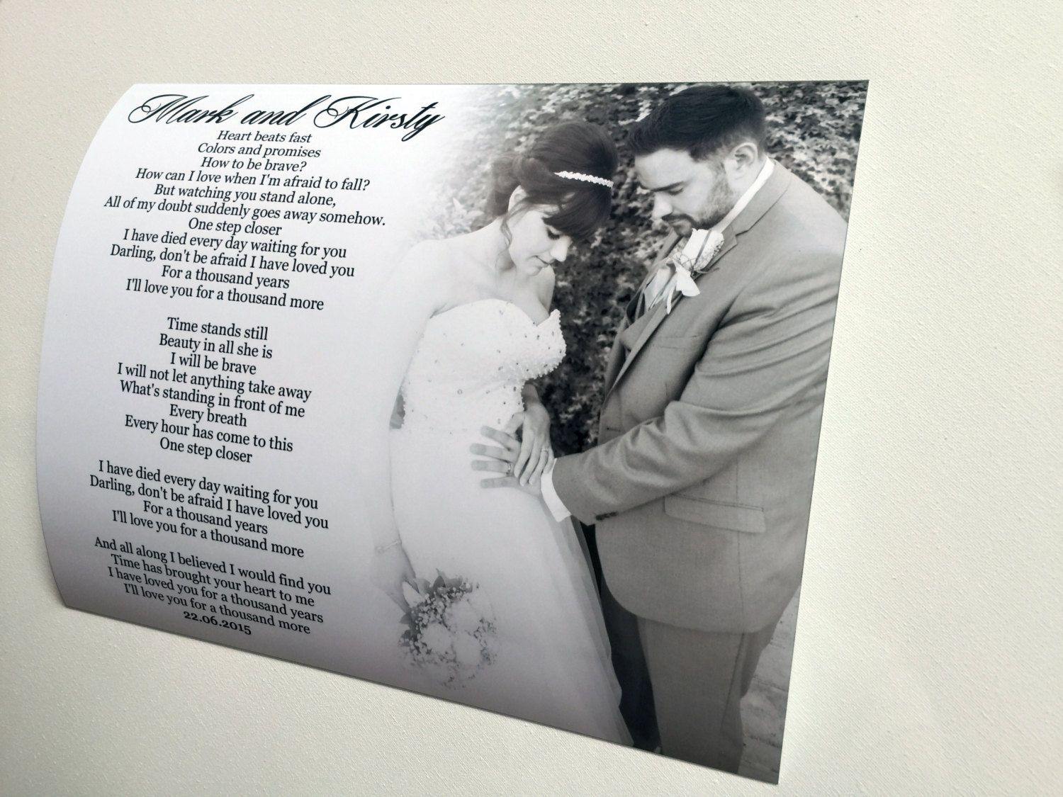 Personalised gift for couple wedding gift poem picture photo ...