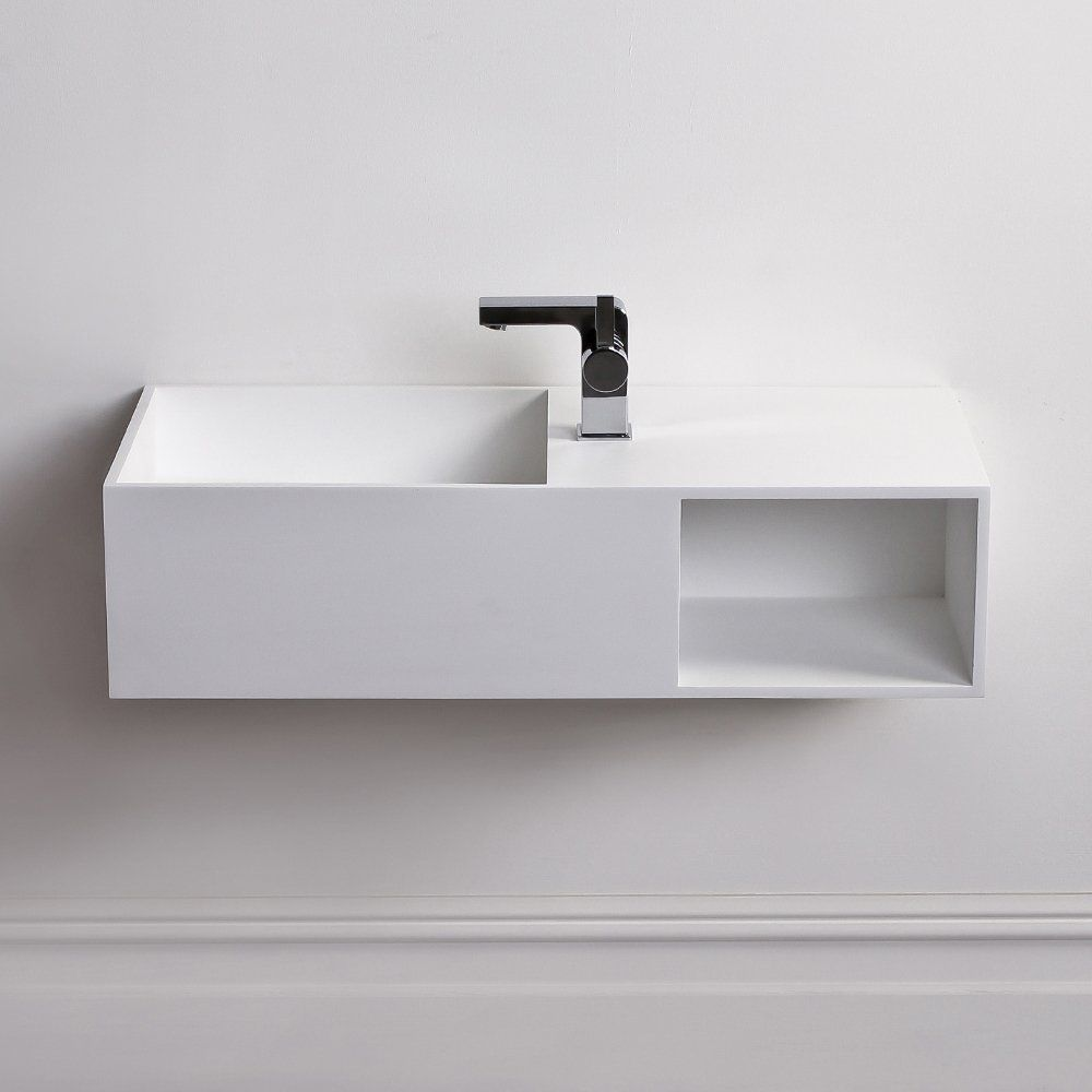 Lusso Stone Cubix Solid surface stone resin wall hung basin Matt ...