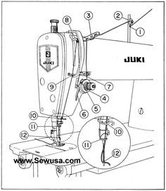 Juki 227 552 553 555 Sewing Machine Threading Diagram Juki