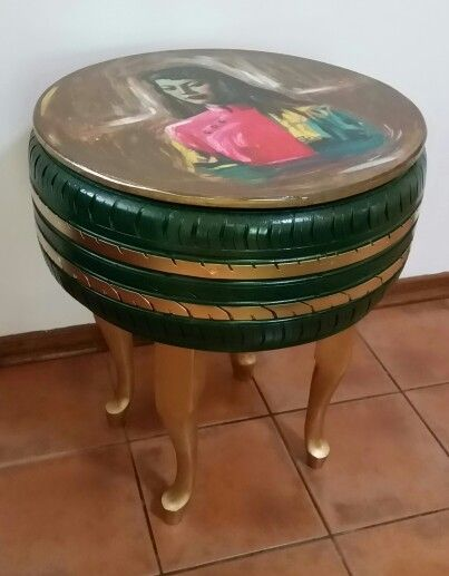 Single tyre coffee table made from old discarded tyre By We are